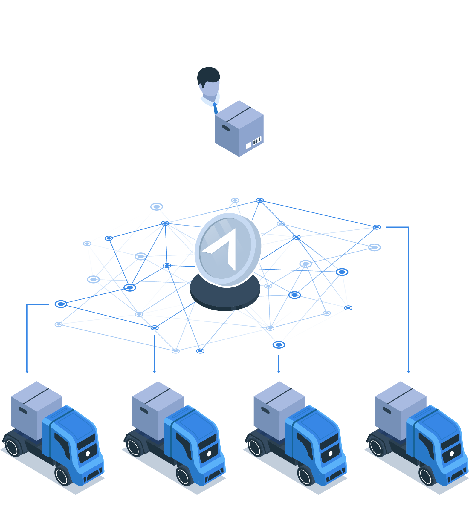 Utilizing the LaneAxis Direct Blockchain Network, shippers can bypass brokers and broadcast